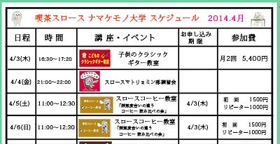 喫茶スロースナマケモノ大学4月